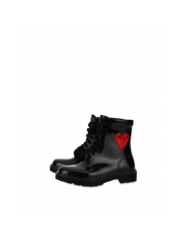 Rubber Ankle Boots With Heart by Moschino
