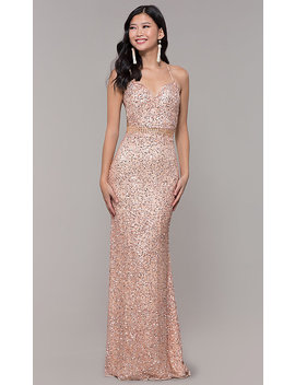 Long Sequin Mesh Formal Sweetheart Dress By Prom Girl by Promgirl
