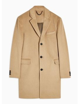 Camel Overcoat With Wool by Topman