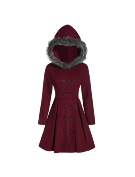 Double Breasted Fur Hooded Long Coat by Dress Lily