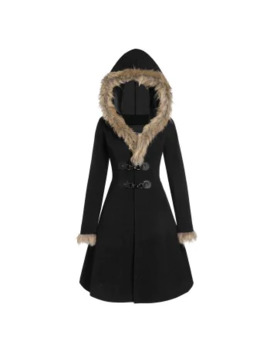 Longline Faux Fur Hood Coat by Dress Lily