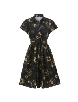 Sun Moon And Star Print Belted Button Dress by Dress Lily