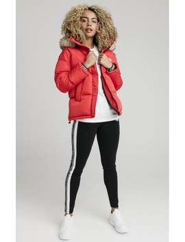 Fur Hood Padded Jacket   Red by The Sik Silk
