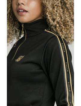 1/4 Zip Tape Track Top   Black by The Sik Silk