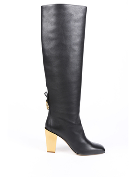 Gancini Leather Knee High Boots by Salvatore Ferragamo