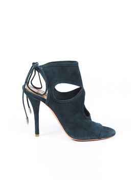 Suede Cut Out Open Toe Pumps by Aquazzura
