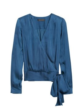 Soft Satin Puff Sleeve Top by Banana Republic