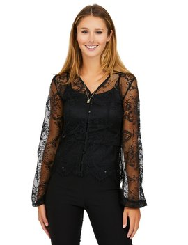 Poof Sleeve Allover Lace Blouse by Suzy Shier