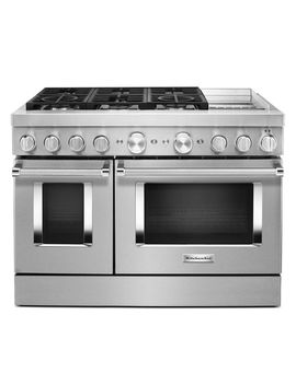 """Kitchen Aid 48"""" Stainless Steel Smart Commercial Style Dual Fuel Range With Griddle   Kfdc558 Jss by Kitchen Aid 48"""" Stainless Steel Smart Commercial Style Dual Fuel Range With Griddle"""