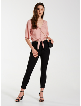 Linen Blend Shirt Tie Front Top by Dotti