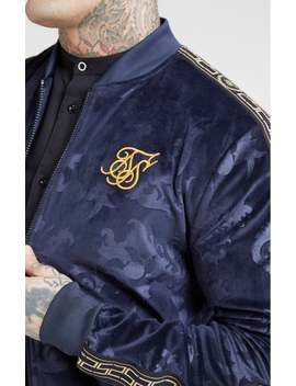 Debossed Velour Bomber Jacket – Navy by The Sik Silk