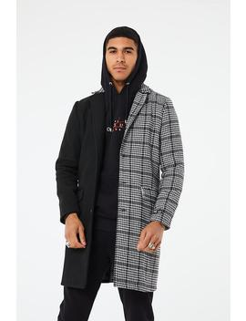 Mixed Check Overcoat by Couture Club