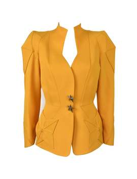 Final Sale 1980s Thierry Mugler Sculptural Yellow Blazer With Star Pockets by 1 Stdibs