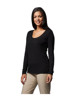 Women's Long Sleeve Double Layer Scoop Neck T Shirt by Sung Alfred Sung
