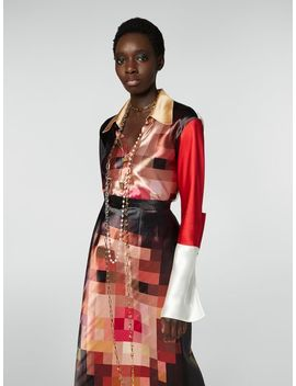 Tight Fitting Shirt In Satin Pixel Grace Print by Marni