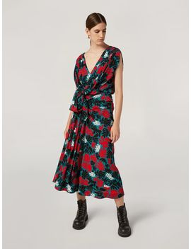 Draped A Lined Skirt In Viscose Sablé Eyed Leaves Print by Marni