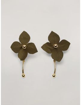 Flora Earrings In Metal With Contrast Cotton Flowers by Marni