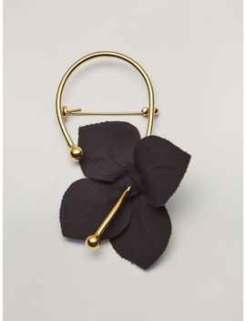 Flora Brooch In Metal With Contrast Cotton Flowers Black And Green by Marni