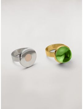 Mod Theme Set Of Two Sphere And Disk Metal And Resin Rings by Marni