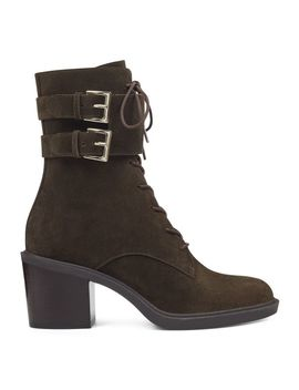 Fynndelle Lace Up Booties   Green Suede by Nine West