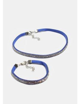 Rhinestone Choker & Bracelet Set by Miss A