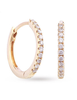 9ct Yellow Gold 0.15ct Diamond Hoop Earrings by Goldsmiths