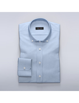 Teaching Mens Fashion Tmf   Light Blue Shirt In Cotton Tencel Twill Fabric by Tailor Store