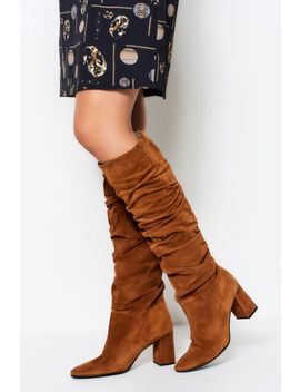 Cognac Brown Suede Pull On Knee High Boot by Sosandar