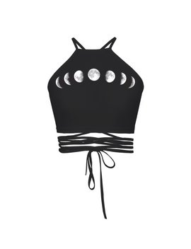 Goth Moon Crop Top by Kokopiecoco