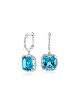 Cushion Cut Swiss Blue Topaz And Diamond Halo Drop Earrings In 14k White Gold (9mm) by Blue Nile