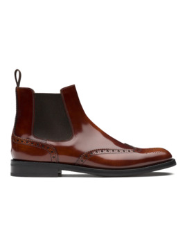 Polished Fumè Brogue Chelsea Boot Tabac by Church's Footwear