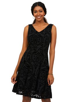 Sleeveless Fit & Flare Baroque Flocking Dress by Suzy Shier