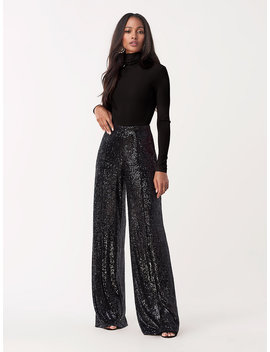 Rhiannon Sequined Jersey Wide Leg Pant by Dvf