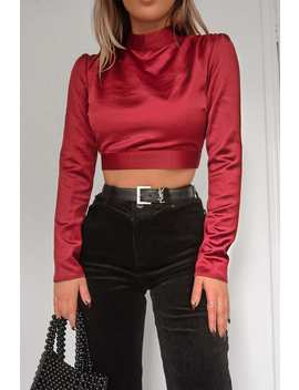Fashion Influx Wine Satin Open Back Crop Top by In The Style