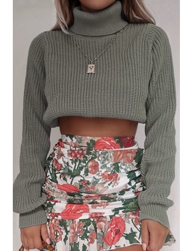 Fashion Influx Mint Ribbed Roll Neck Cropped Jumper by In The Style