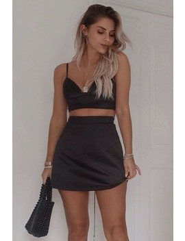 Fashion Influx Black Satin Skirt by In The Style