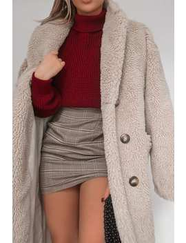 Fashion Influx Cream Oversized Double Breasted Teddy Fur Coat by In The Style
