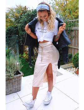 Meggan Grubb Cream Satin Midi Skirt by In The Style