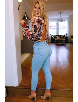 Meggan Grubb Reworked Slash Knee Blue Wash Slim Mom Jeans by In The Style