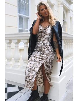 Meggan Grubb Satin Stone Leopard Print Cowl Neck Midi Dress by In The Style