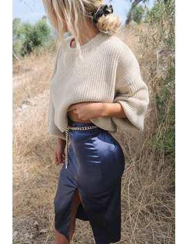 Meggan Grubb Satin Navy Midi Skirt by In The Style