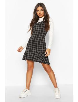Check Frill Hem Pinny Dress by Boohoo