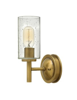 Houseology Collection Montpellier Wall Light Steel Heritage Brass Finish Opal Etched Glass by Houseology