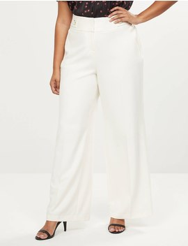 Allie Tailored Stretch Wide Leg Pant   Tabbed Waist by Lane Bryant