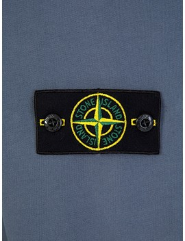 Stone Island Blue Fleece Hoodie by Stone Island