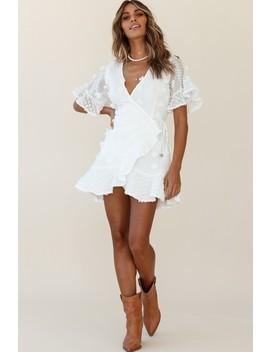 Chai Angel Sleeve Embellished Wrap Dress White by Selfie Leslie