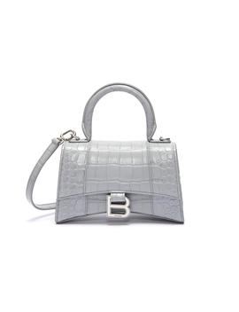 'hourglass' Xs Top Handle Croc Embossed Leather Bag by Balenciaga