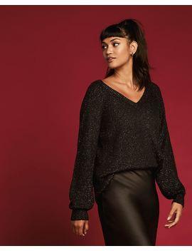 V Neck Sweater With Metallic Thread by Reitmans