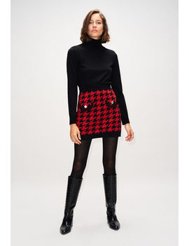 Two Colour Houndstooth Knit Skirt by Claudie Pierlot