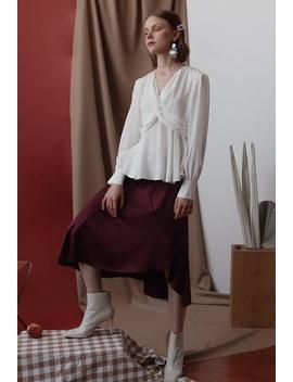 Attie Silk Skirt   Plum by Petite Studio